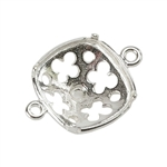 Sterling Silver Connector Setting - Clover Cushion 12mm Pkg - 2