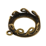 Bronze Plate Pendant Setting - Waves Round 14mm