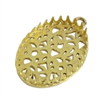 Brass Pendant Bezel Setting - Filigree Back 18mm x 25mm Pkg - 1