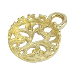 "Brass Pendant Bezel Setting - ""U"" Gallery Filigree Back Round 10mm Pkg - 1"