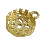 Brass Pendant Bezel Setting - Flower Gallery Filigree Back Round 10mm Pkg - 1