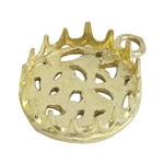 Brass Pendant Bezel Setting - Post Gallery Filigree Back Round 12mm Pkg - 1