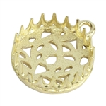 Brass Pendant Bezel Setting - Post Gallery Filigree Back Round 14mm Pkg - 1