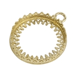 Brass Pendant Bezel Setting - Crown Round 20mm Pkg - 1