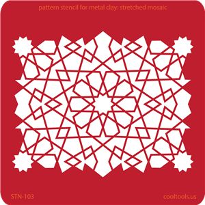 Pattern Stencil for Metal Clay - Stretched Mosaic