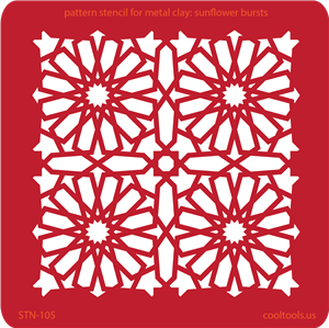 Pattern Stencil for Metal Clay - Sunflower Bursts