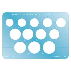 Jewelry Shape Template - Ring Sizes - Half