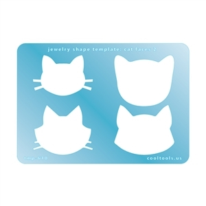 Jewelry Shape Template - Cat Faces 2