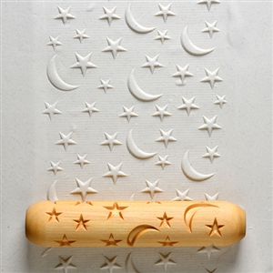 Large Wooden Hand Roller - Stars and Moons