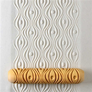 Large Wooden Hand Roller - Wavy Abstract