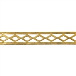 Patterned Strip - Brass - Edged Diamonds - 6 inches