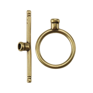 Bronze Plate Toggle Clasp - Round Thin Crimp End