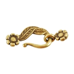 Bronze Plate Mini Hook & Eye Clasp - Leaf & Flower