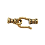 Bronze Plate Hook & Eye Clasp - Crimp End