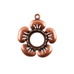 Copper Plate Flower Pendant Setting - Round