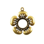 Bronze Plate Flower Pendant Setting - Round