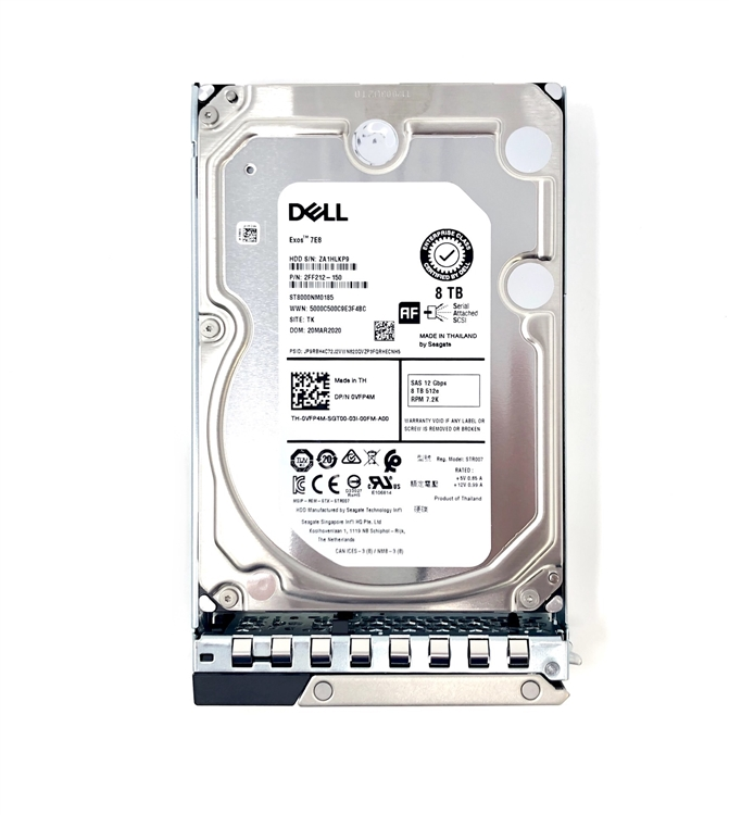 PowerEdge R240 R340 R440 R540 - Dell 8TB 7 2K 3 5in SAS Hard Drive