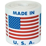 "LBL U304  Label - Flag - ""Made In U.S.A. - - 2"" x 2"", 500 Per Roll"