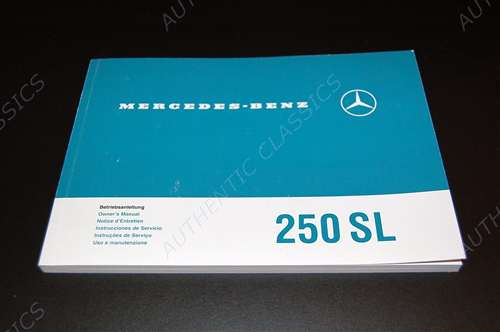 Elegant Mercedes Benz 1967 68 250SL 113 Ch Owners Manual