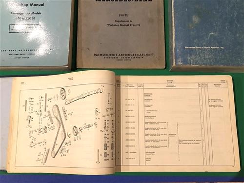 Four Volume Service / Workshop Manual / Parts Book set for Mercedes 190SL