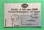 "DECAL - "" HELLA 91/33""  FOR  HEADLIGHT FLASHER RELAY"