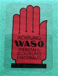 "WINDOW DECAL - ""WASO""  ANTITHEFT LOGO"