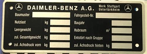 Mercedes Chassis Data Plate - 170/220/300 Models - v1