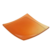 "6"" x 6"" Small Orange Cubol Glass Plate"