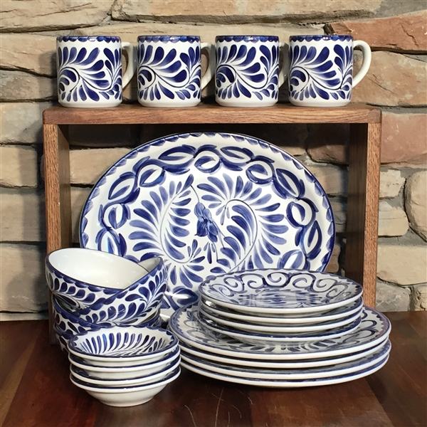 PUEBLA 21 PC DINNERWARE SET - BLUE ONLY & Puebla Hand Painted Dinnerware Set from Anfora
