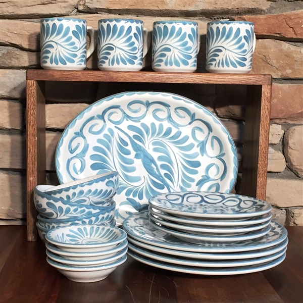 PUEBLA 21 PC DINNERWARE ... & Puebla Hand Painted Dinnerware Set from Anfora