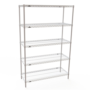 "Metro White Wire 5 Shelf Kit- 18""d x 42""w"