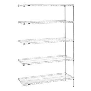 "18""d x 74""h Stainless Steel 5-Shelf Add-Ons"