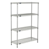 "18""d Silver EP Wire Shelving with 4 Shelves"