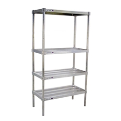 "18""d aluminum adjustable heavy duty shelving kit with 4 tiers"