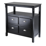 The top has beveled edges while the legs are carved wood. Matte black buffet table with cabinet doors that look like drawers.