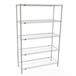 "24""d Metro Super Erecta White Wire Shelving with 5 Shelves"