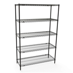 "Metro Wire Shelving 24""d x 48""w 5 Shelf Kits- Black"