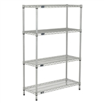 "24""d Silver EP Wire Shelving with 4 Shelves"