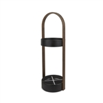 Hub Umbrella Stand Black/Walnut