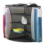 Mesh Desktop Corner Organizer with 4 compartments and 2 binder slots