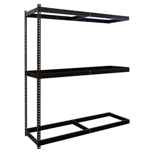"3-Shelf Black Double Rivet Add-On Units - 18""d x 84""h"