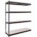 "4-Shelf Black Double Rivet Add-On Units - 18""d x 84""h"
