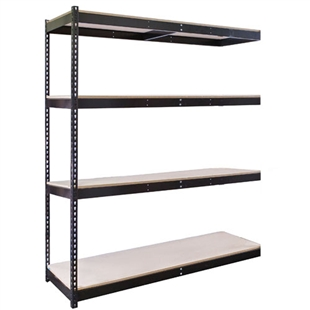 "4-Shelf Black Double Rivet Add-On Units - 48""d x 84""h"
