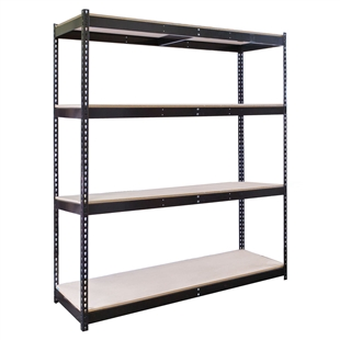 "4-Shelf Black Double Rivet Starter Units - 24""d x 84""h"