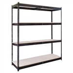 "4-Shelf Black Double Rivet Starter Units - 36""d x 84""h"