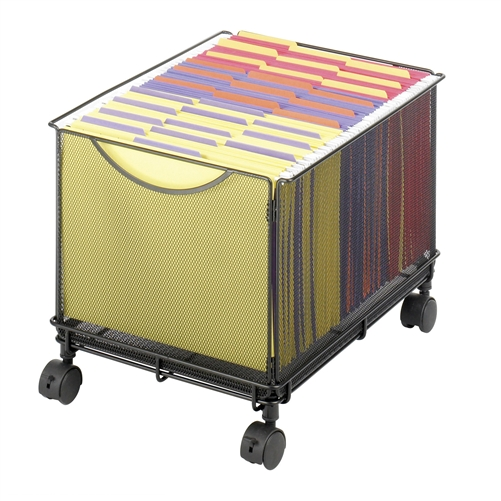 Onyx Mesh Rolling File Cube Under Desk File Organizer Safco