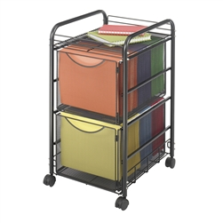 Mesh File Cart with 2 Drawers for Hanging Files