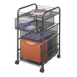 Mesh File Cart with hanging file drawer and 2 pull out supply drawers