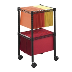 2 Tier Compact Wire File Cart for letter and legal size folders