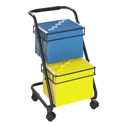Jazz Two Tier File Cart, open steel framed cart for hanging files